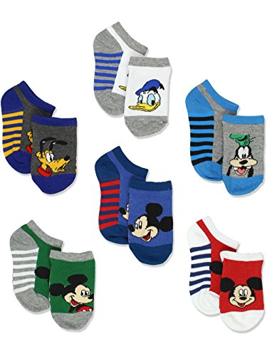 Mickey Mouse Little Boys 6 pack Socks (2T-4T Toddler (Shoe: 4-7), Stripes No Show) from Disney