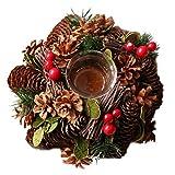 SweetLifeIdea Christmas Wreath Artificial Christmas Flower Pine Needle Pine Cone Tealight Candle Holder Wood Tea Light Holder Christmas Decoration Gift Idea