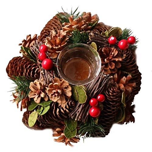 Pine Cone Tea Light - SweetLifeIdea Christmas Wreath Artificial Christmas Flower Pine Needle Pine Cone Tealight Candle Holder Wood Tea Light Holder Christmas Decoration Gift Idea