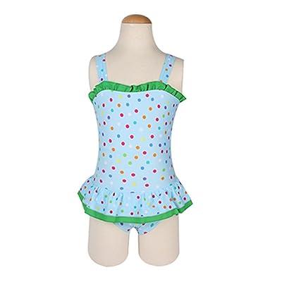 Girls Spot Pattern Swimsuit One-Piece Suits Kid Learning Swim Skirt Wetsuit
