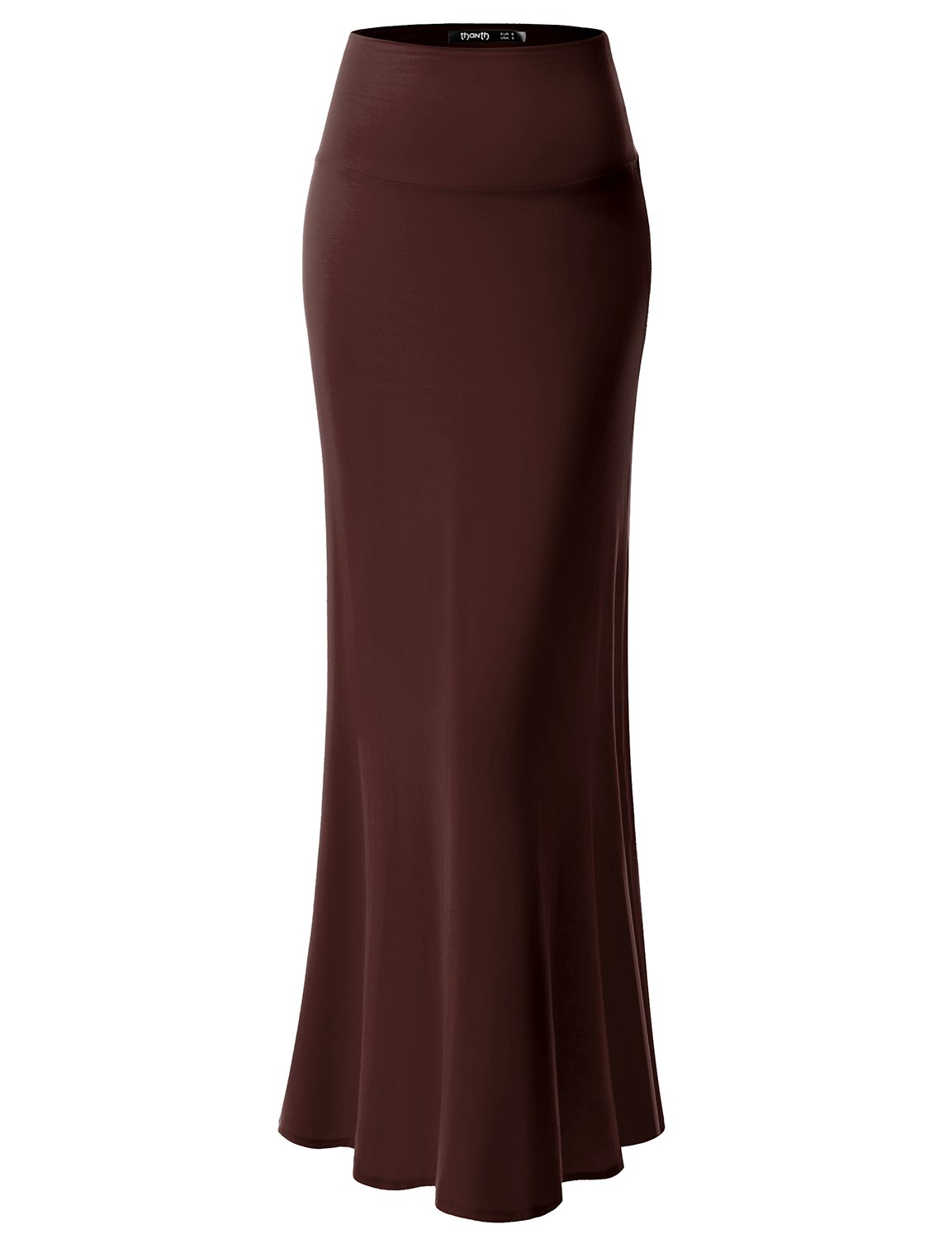 TWINTH Maxi Skirt Plus Size Long Skirt Offic Wear Circle Brown M
