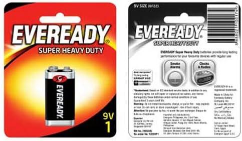 Eveready Heavy Duty 1222BP 9-Volt Battery