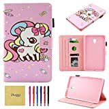 Dluggs Samsung Galaxy Tab A 8.0 2017 Case, T380 Case, Lightweight PU Leather Folio Flip Stand Wallet Case for Samsung Galaxy Tab A 8.0 inch (2017 Release) SM-T380/T385 Tablet, Candy Unicorn