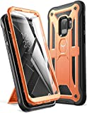 YOUMAKER Galaxy S9 Case, Heavy Duty Protection Kickstand with Built-in Screen Protector Shockproof Case Cover for Samsung Galaxy S9 5.8 inch (2018 Release) - Orange/Black