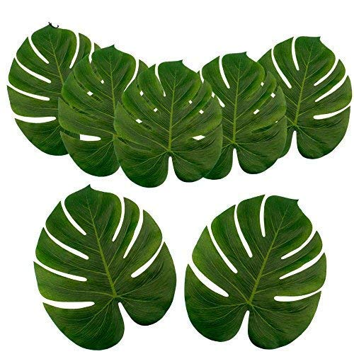ILAWS Tropical Palm Leaves - Faux Palm Leaves - Large Palm Leaves Decorations - 24pcs Large Size (13.8 by 11.4inch) Artificial Tropical Palm Leaves for Party, Wedding; Hawaiian; Luau Decoration