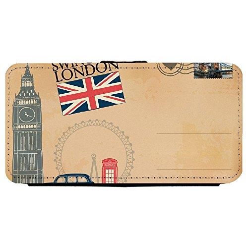 Image Of Vintage Classic Antique Postcard of London Big Ben Union Jack Flag Apple iPhone X Leather Flip Phone Case (Vintage Postcard Union)