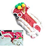 Chinese New Year Costume Lion Head Dance Clothes for Pet Dog (M, Red)