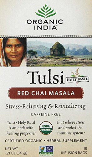 Chai Tea Red (Organic India Tulsi Red Chai Caffeine Free Tea, Masala, 18 Count)