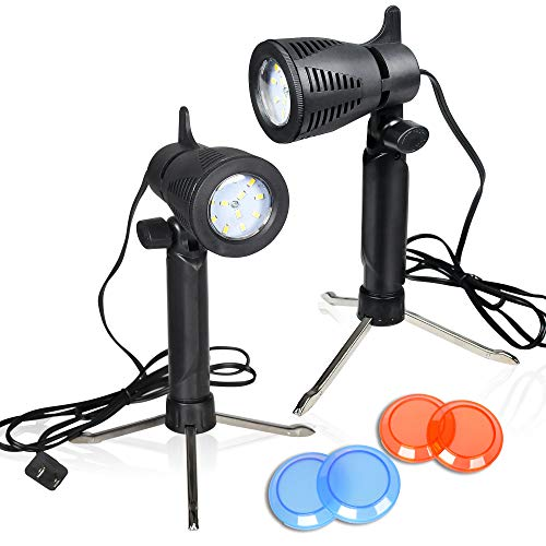 Emart Photography LED Continuous Light Lamp 5500K Portable Camera Photo Lighting for Table Top Studio - 2 Sets ()