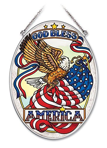 Amia 5-1/2 by 7-Inch Oval Hand-Painted Glass Suncatcher, God Bless America, Medium