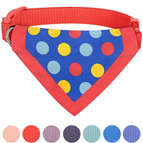 Blueberry Pet 7 Patterns Bold Polka Dots Vivid Red Cotton Blend Neckerchief Scarf Bandana Dog Collar, Small, Neck 12