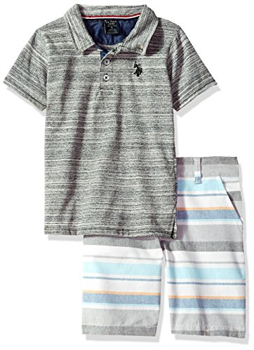 Plaid Logo Shirt - U.S. Polo Assn. Toddler Boys' Polo Shirt and Short Set, Black Logo Multi Plaid, 2T