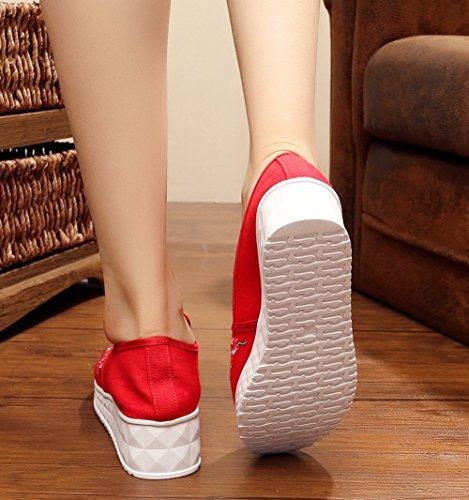 Avacostume Womens Embroidery Casual Flats Mocassini Slip-on Rossi