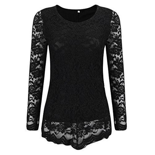 Women Plus Size Lace Stitching Pull On Long Sleeve Blouse Shirts xl
