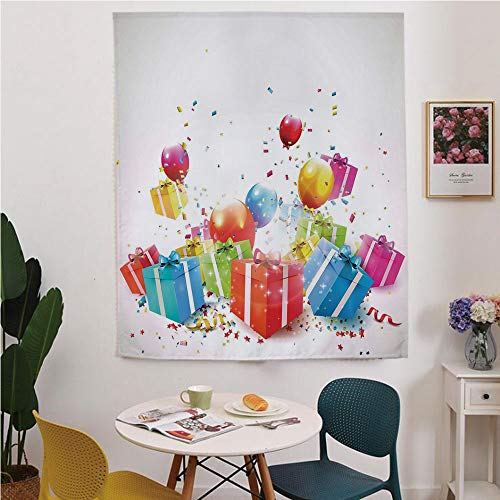 (Birthday Decorations Blackout Window curtain,Free Punching Magic Stickers Curtain,Surprise Boxes with Bow Ties Confetti Rain Balloons Celebratory Set Up,for Living Room,study, kitchen, dormitory,)