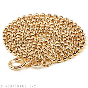 "GOLD PLATED SOILID 925 STERLING SILVER BALL CHAIN NECKLACE MADE ITALY 24"" LONG"