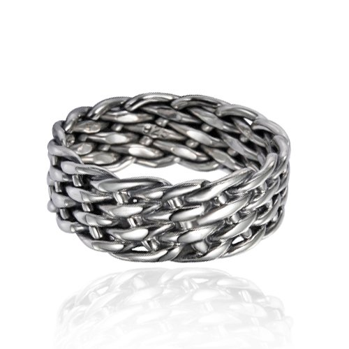 Chuvora 925 Sterling Silver 8 mm Wide Braided Tribal Celtic Knot Band, Nickle Free Size 11