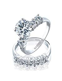 Bling Jewelry 925 Sterling Silver CZ Round Engagement Wedding Ring Set