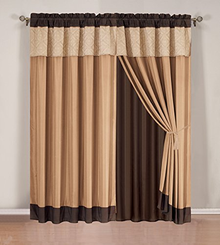 Grand Linen Modern 4 Piece Chocolate Brown, Camel and Beige Curtain Set with Attached Valance and Sheers
