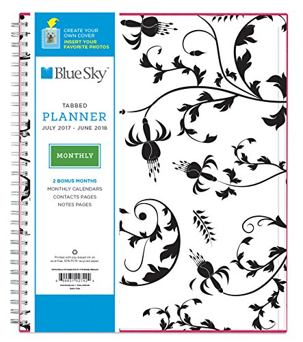 "Blue Sky 2017-2018 Academic Year Monthly Planner, Twin-Wire Bound, 8"" x 10"", Analeis"
