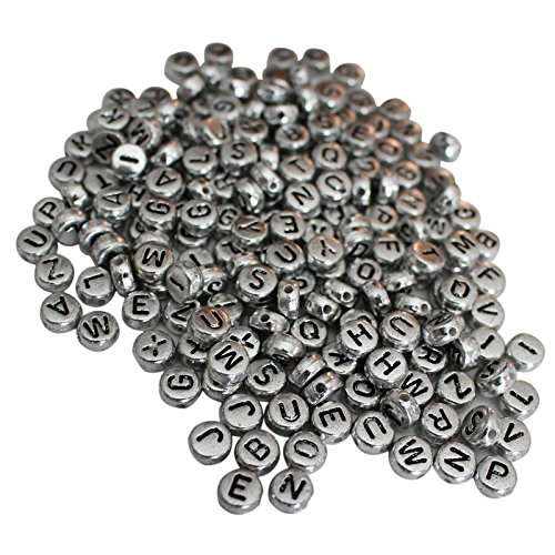 Beads Silver Metal Letter (1000Pcs Alphabet Letter Beads by Kurtzy - 6 x 6mm DIY Bracelet, Necklace Making and Kids Jewelry Craft Beads - Acrylic Letter Beads Coated in Silver Metal Finish for High Quality Results)
