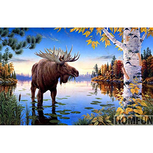 Kit Moose - UPMALL DIY 5D Diamond Painting by Number Kits, Full Drill Crystal Rhinestone Embroidery Pictures Arts Craft for Home Wall Decoration Bull Moose 15.7×11.8 Inches