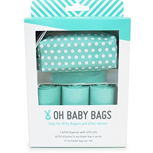 Oh Baby Bags Diaper Bag Clip-On Dispenser Gift Box with Scented Disposable Bags for Dirty Diapers - Recycled Plastic - Seadot Duffle plus 48 Seafom Scented Bags