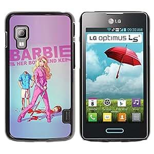 Qstar Arte & diseño plástico duro Fundas Cover Cubre Hard Case Cover para LG Optimus L5 II Dual E455 / E460 / Optimus Duet ( Doll Blonde Thin Move Uma Parody Sword)