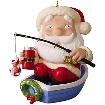 Hallmark Keepsake 2017 Merry Fishmas Santa Fishing Christmas Ornament