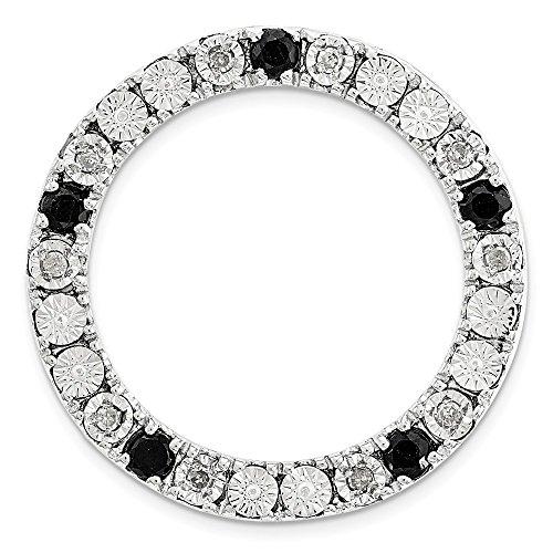 - Sterling Silver .05 Ctw HI Diamond & Blk Sapphire 20mm Med Slide Necklace - 16 inch