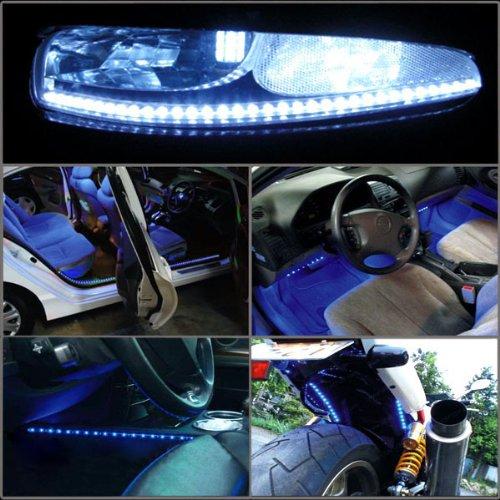 [해외]2 x 48 cm 19 인치 48 LED 유연한 스트립 빛 유로 스타일 유니버설 적합 한 크 세 논 화이트 사이드 글로우 실행 DRL 운전 라이트 안개 램프/2x 48 cm 19 inch 48 LED Flexible