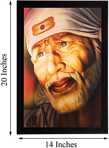 Nobility Sai Baba Canvas Painting - Size: 20 Inch x 14 Inch - Wall Art
