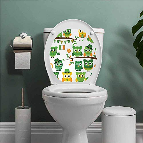 PINAFOREhome St. Patricks Day Toilet Decals Irish Owls with Leprechaun Hats on Trees Shamrock Leaves Horseshoe Funny Grow Sticker Decal Green and White W12XL14 INCH
