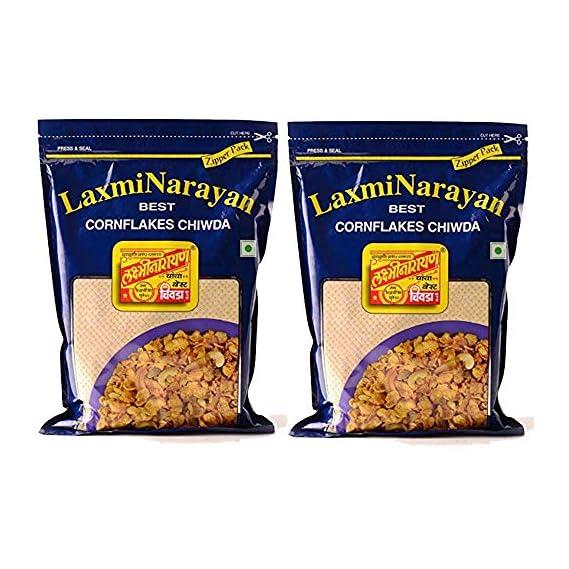 Laxminarayan Chiwda - Pune | Indian Snacks | Namkeen (Corn Flakes 500g x 2)