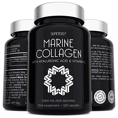 Marine Collagen Supplement 2400mg – 120 Capsules with Hyaluronic Acid and Vitamin C – Premium Type 1 Hydrolysed Collagen…