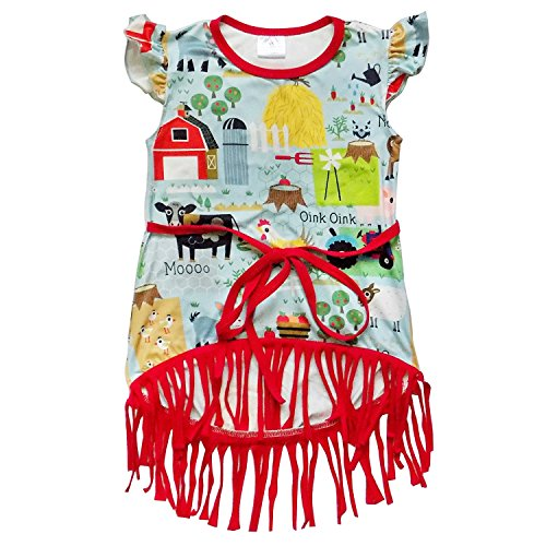 Infant Dress Girls Tank (So Sydney Toddler & Girls Bohemian Fringe Accent Tank Top Boho Cotton Dress (M (4T), Barnyard Farm Red))