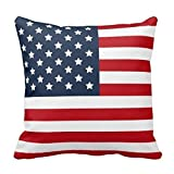 Vintage USA American Flag Pillowcase Pillow Cushion Case Cover Twin Sides, Retro Star Stripe American Patriotic Polyester Zippered pillowcases 16x16inch,two sides