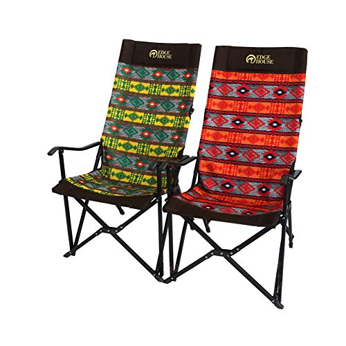[EDGE HOUSE] High long two fold fabric Relax Chair Indian Pattern in Outdoor EHA-57 & Free Gift (Key Ring) (Green&Yellow) by EDGE HOUSE (Image #5)