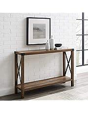 Walker Edison Sedalia Modern Farmhouse Metal X Entry Table, 46 Inch, Brown Reclaimed Barnwood