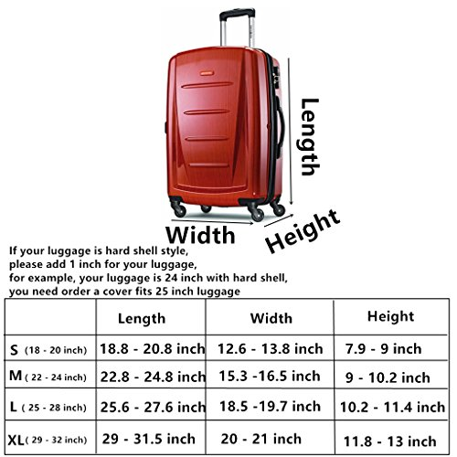 Fvstar Washable Luggage Cover Spandex Suitcase Protector Cove Travel Baggage Covers Carry On Luggage Protector Fits 25-28 inch Luggage