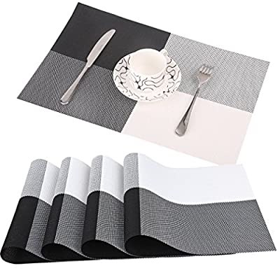 famibay PVC Place Mats - Heat Insulation PVC Placemats Stain-Resistant Woven Vinyl Table Mats for Kitchen Set of 4-30x45 cm (Black) - Material:These PVC Place Mats are made of 70% PVC and 30% polyester yarn,which makes this place mats sets are co-friendly and safe for dinner table use The dinner table mats effective insulation could reach to 80℃, could protect dinning table from scalding and create a enjoyable dining environment The place mats recommended by customers due to place mats' features, such as heat proof, non-slip, insulated, foldable and washable as well as pvc table mats nice appearance - placemats, kitchen-dining-room-table-linens, kitchen-dining-room - 51vQMyjW1AL. SS400  -