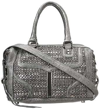 Rebecca Minkoff Mab Mini Bombe Woven H339F84C Handbag,Silver,One Size
