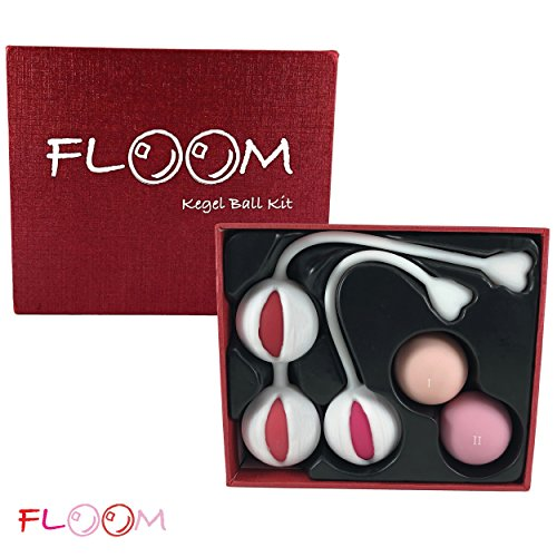 Floom Kegel Ball Kit with 15 Weight Variations - 5 Kegel Exercise Weights - Doctor Recommended for Pelvic Floor Exercises and Bladder Control - BONUS Kinetic Biofeedback System - Beginner and Advanced