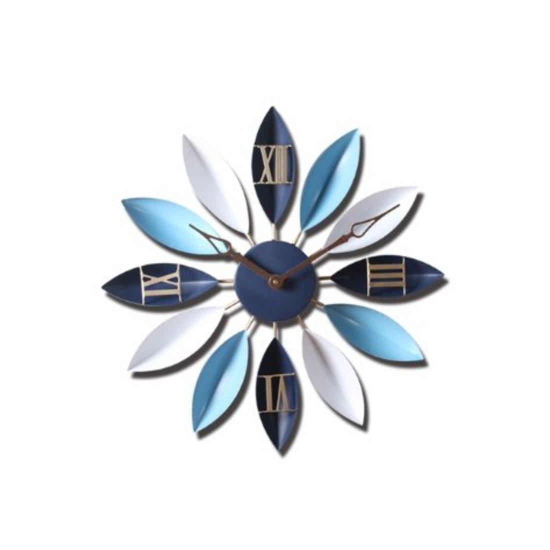 GREEM MARKET(グリームマーケット) ウォール クロック 大 大きい モダン おしゃれ モダン 葉 リーフ デザイン 金属 メタル 壁掛け時計 掛け時計 品番:GMS00965(オーシャンブルー) B077Q7D9Z1 オーシャンブルー オーシャンブルー