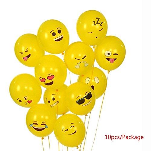 Ochine Yellow Latex Balloons Set, 10 Pcs Emoji Smiley Face Expression Ballons for Halloween Party Birthday Wedding Decor -