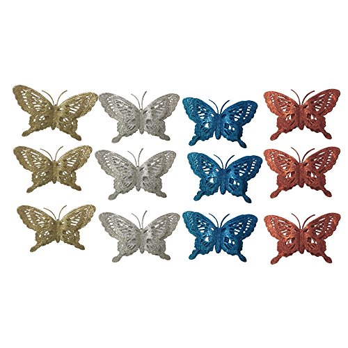 Glitter Butterfly Clip-Ons - Set of 12 Assorted Colors Red Blue Silver and Gold Butterflies Clip On Crafts Decorations