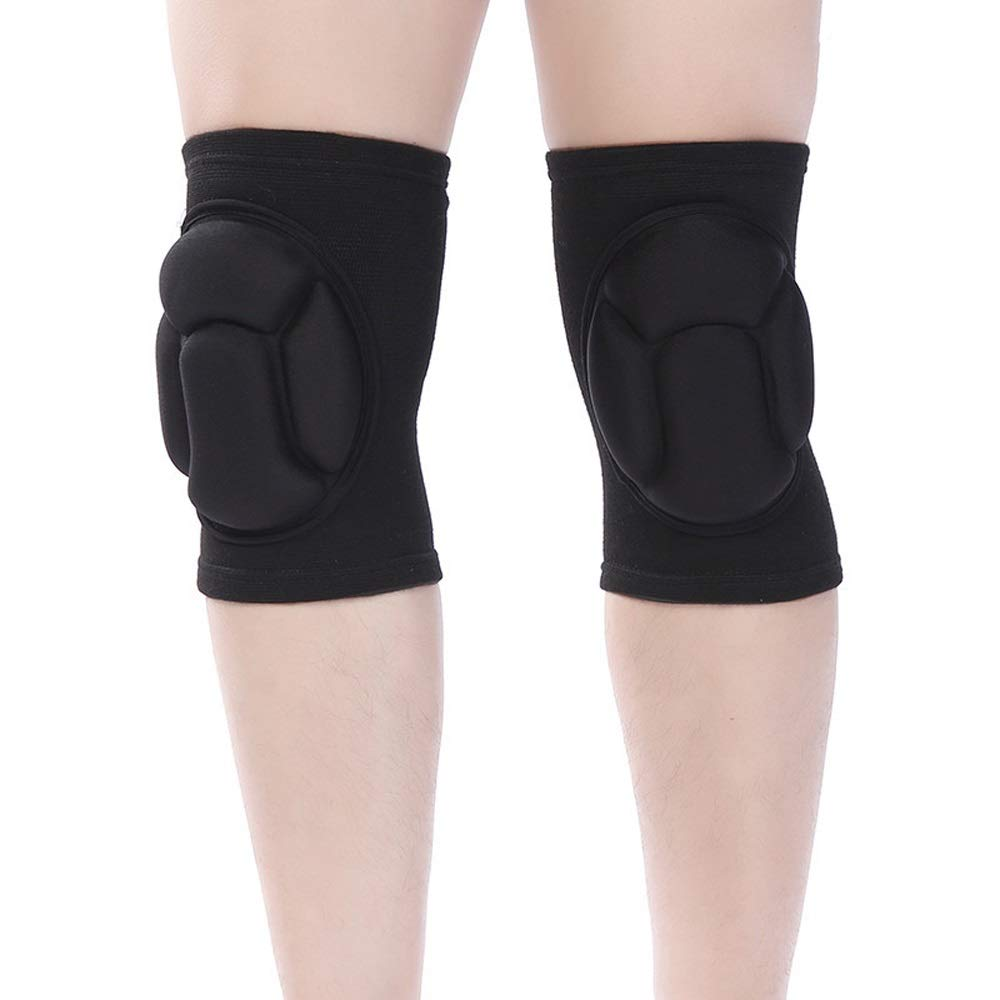 C.W.USJ Knee Brace Compression Sleeve with Strap for Best Support & Pain Relief Shock Absorption Adjustable Knee Belt (Color : Black, Size : L) by C.W.USJ