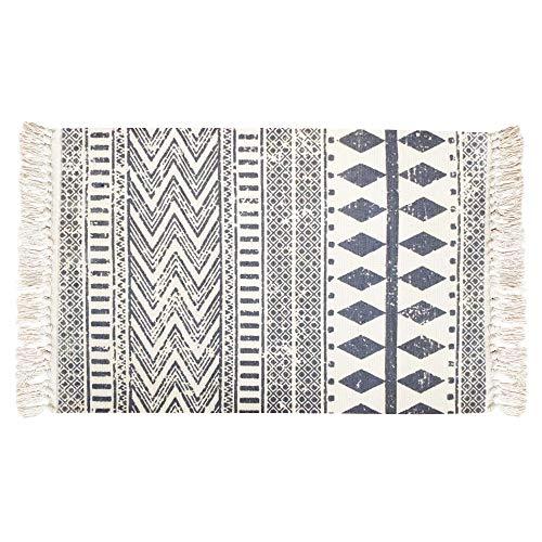 USTIDE Nordic Fringe Geometric Kilim Rug Cotton Printed Rug 23.6