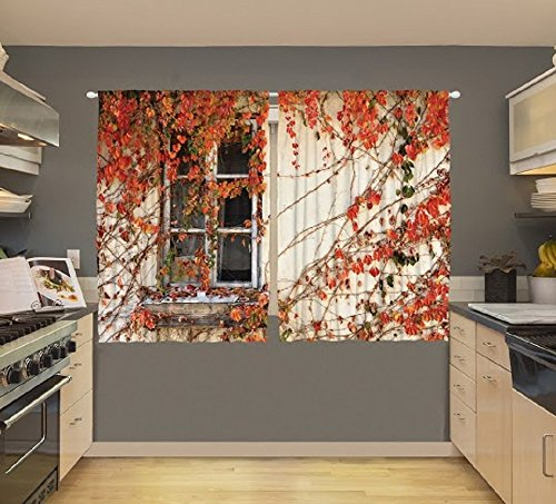 French Rustic Country Digital Graphic Printed Kitchen Curtain Panel Set or Dining Room Drapes European Colonial Floral Design Window Covering Treatment Review
