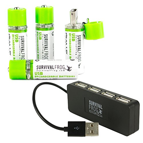 (EasyPower USB AA Rechargeable Batteries 4 Pack w/Free 4-Port USB Hub - 1450mAh 1.2V NiMH AA USB Battery Charger Plugs into Any USB Device, 2-3 Times More Power Than Standard AA's )